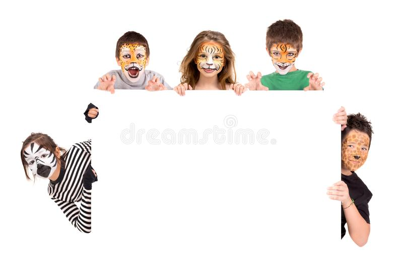 Kids with animal face-paint royalty free stock photos
