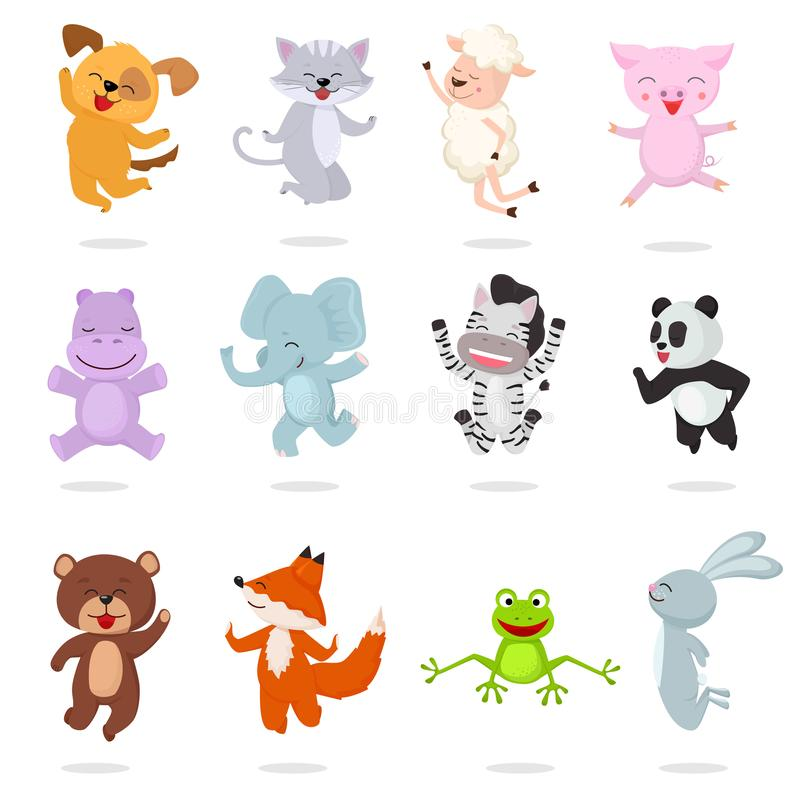 Kids animals vector cartoon animalistic characters dog cat baby piglet little panda illustration set of bunny jumping stock illustration