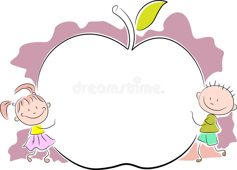 Kids with apple vector illustration