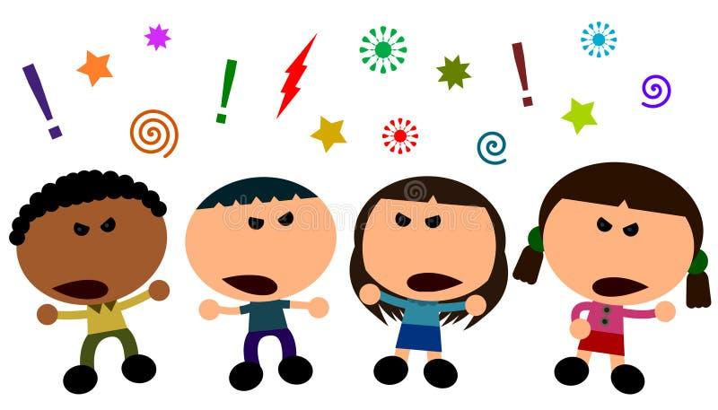 Kids arguing stock illustration