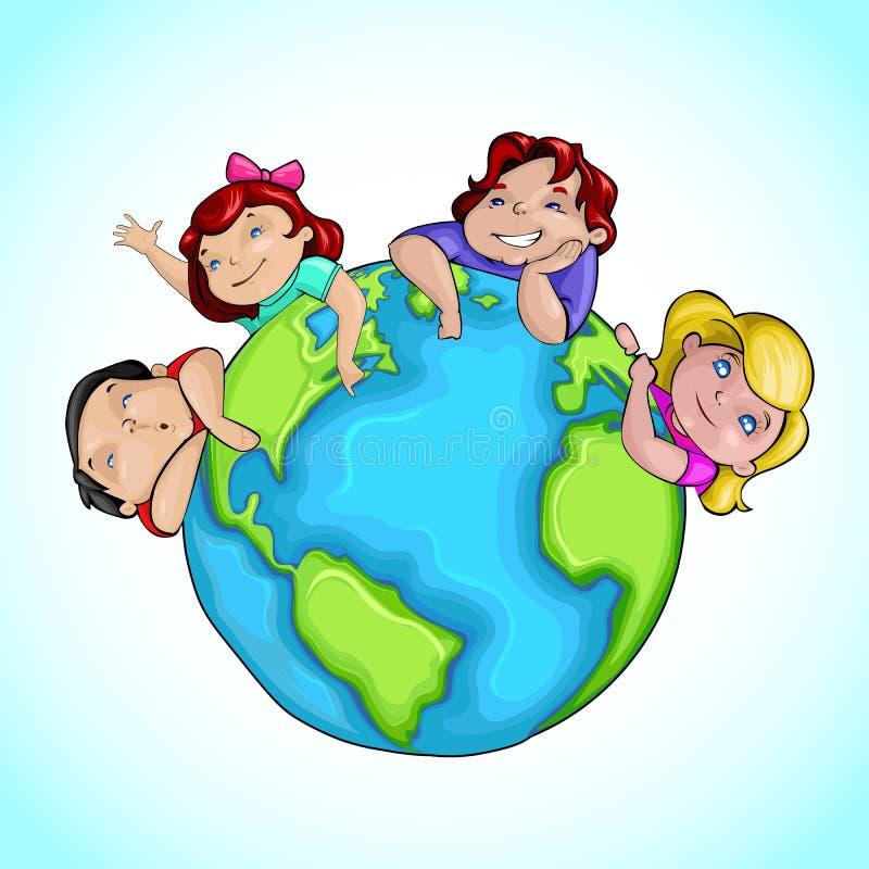 Kids around Earth vector illustration