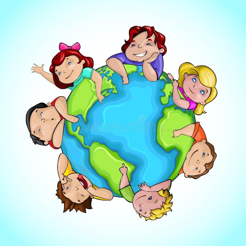 Kids around Globe vector illustration