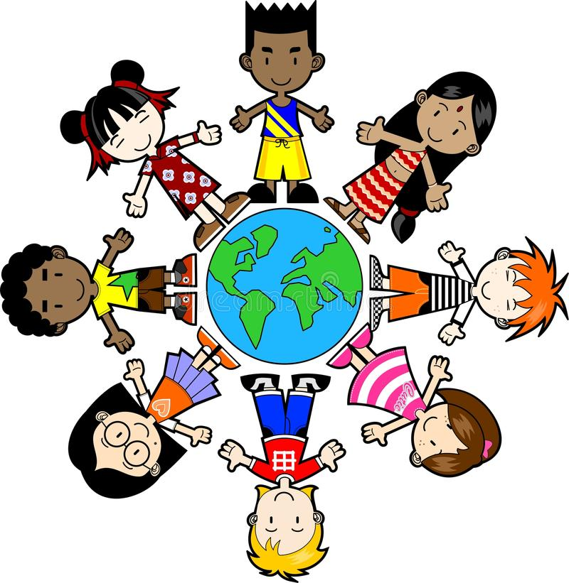 Kids around the world stock illustration