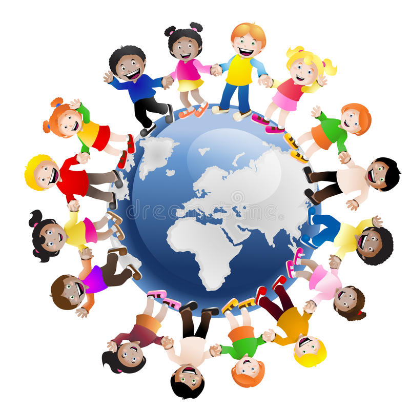 Kids around the World. Illustration of children holding hands surrounding the globe, symbolizing world unity and peace isolated on white background