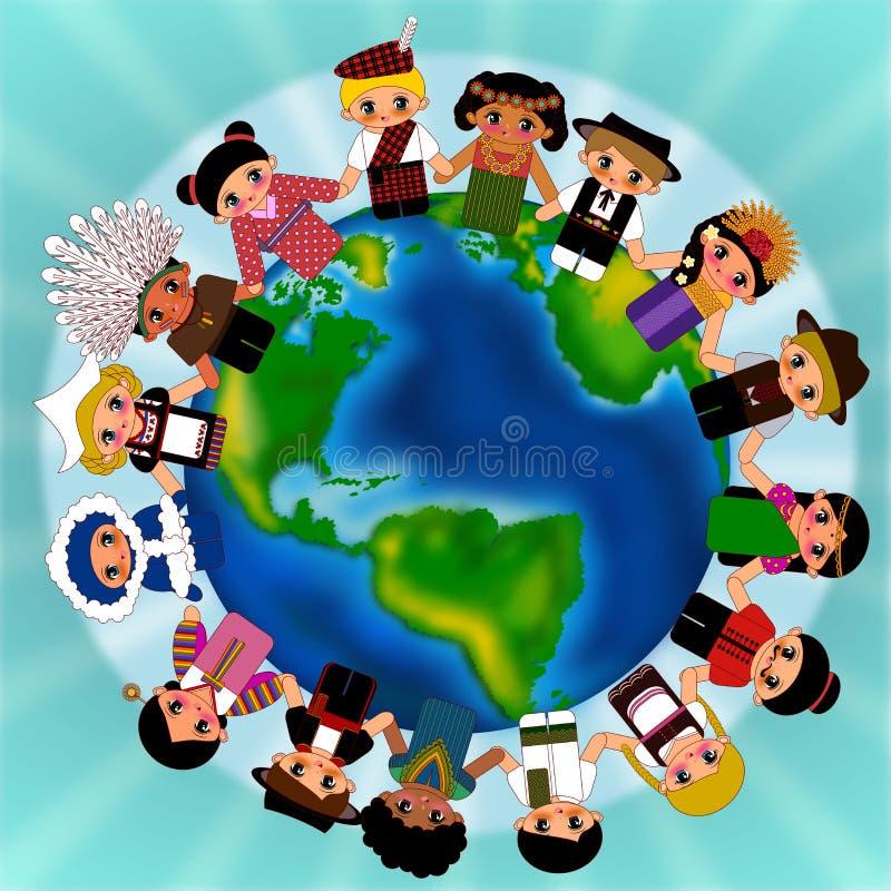 Kids around the world. Children around the world wearing traditional costume illustration royalty free illustration