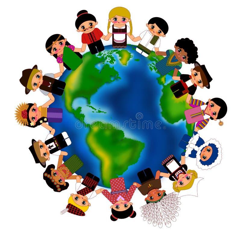 Kids around the world. Children around the world wearing traditional costume isolated illustration vector illustration