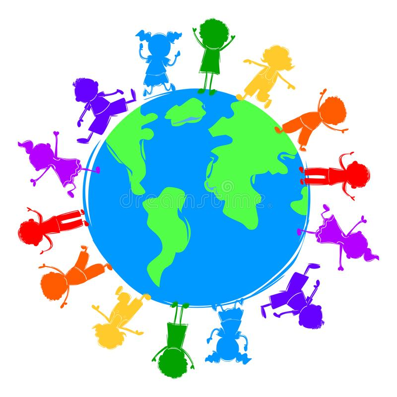 Kids around the world illustration.Word kids royalty free illustration