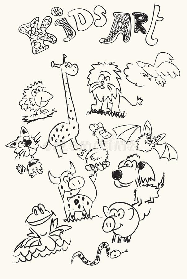 Kids art. Children`s drawings of doodle animals. stock illustration