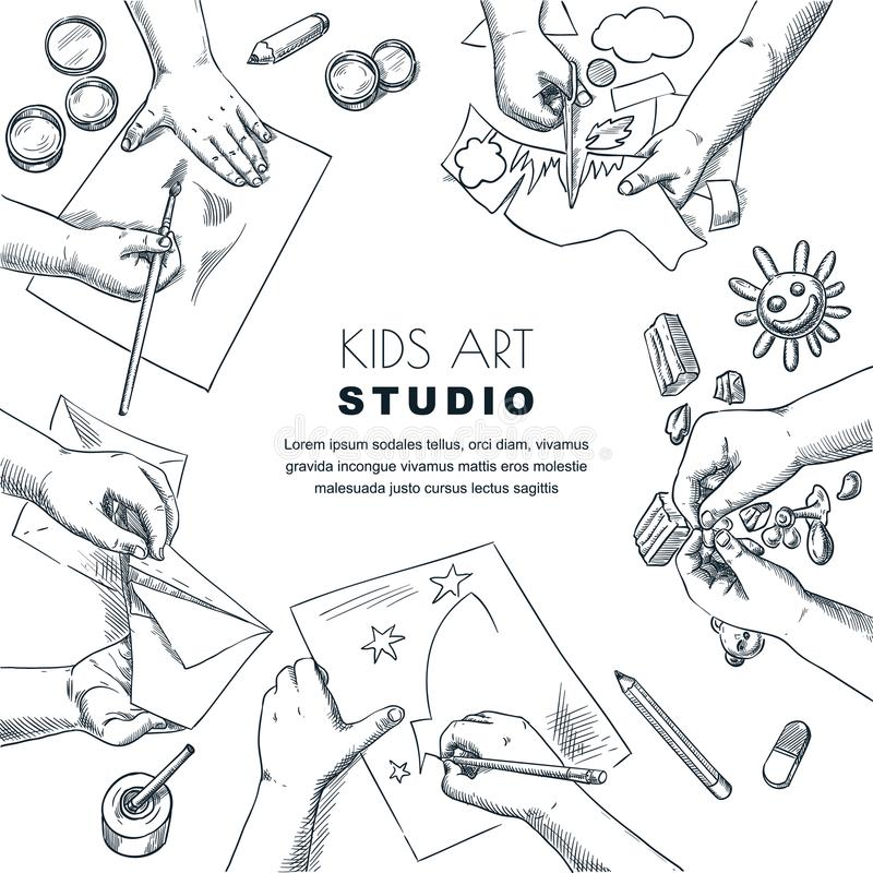 Kids art class work process. Vector sketch illustration of painting, drawing children. Craft and creativity concept. royalty free illustration