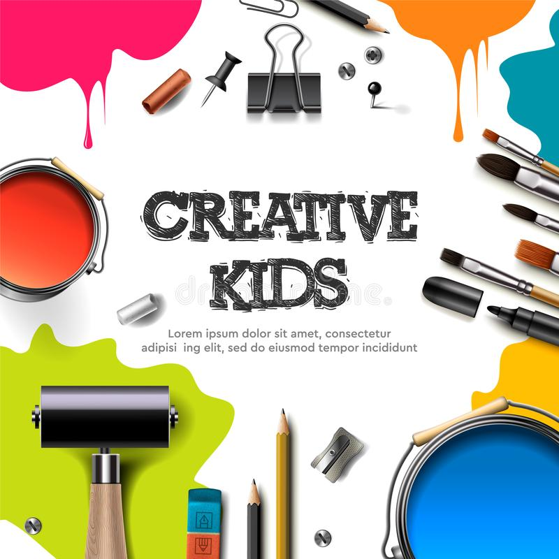 Kids art craft, education, creativity class concept. Banner or poster with white square paper background, hand drawn. Letters, pencil, brush, paints. Vector vector illustration