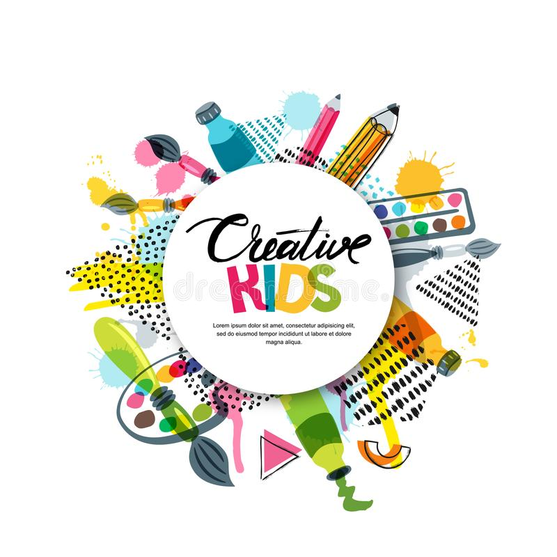 Kids art craft, education, creativity class. Vector banner, poster with white paper background, hand drawn letters. Kids art craft, education, creativity class vector illustration