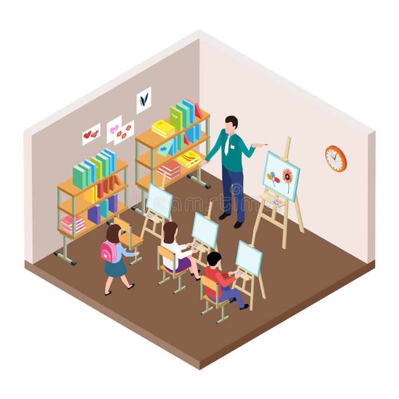 Kids art studio vector illustration. Isometric classroom for drawing lesson with easel, students, teacher stock illustration