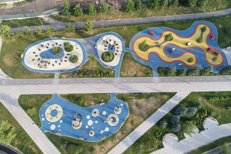Kids attractions area in Butovo park from the birds sight, Moscow, Russia royalty free stock images