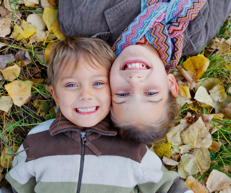 Download Kids in autumn park stock photo. Image of forest, cute - 34837994