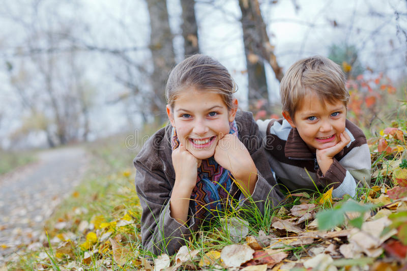 Download Kids in autumn park stock photo. Image of fall, baby - 34838040
