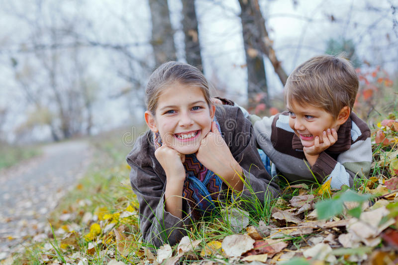 Download Kids In Autumn Park Royalty Free Stock Images - Image: 34854759