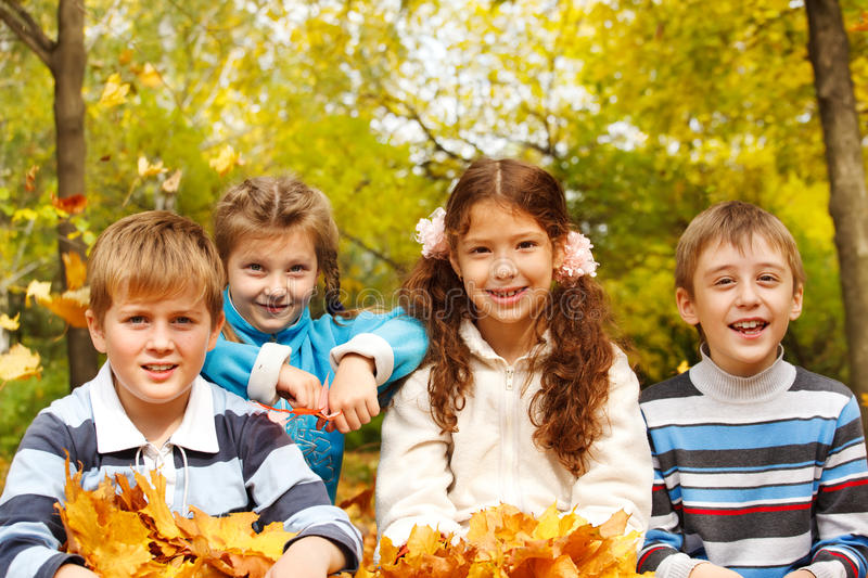 Download Kids in autumnal park stock photo. Image of giggle, laughing - 21516670
