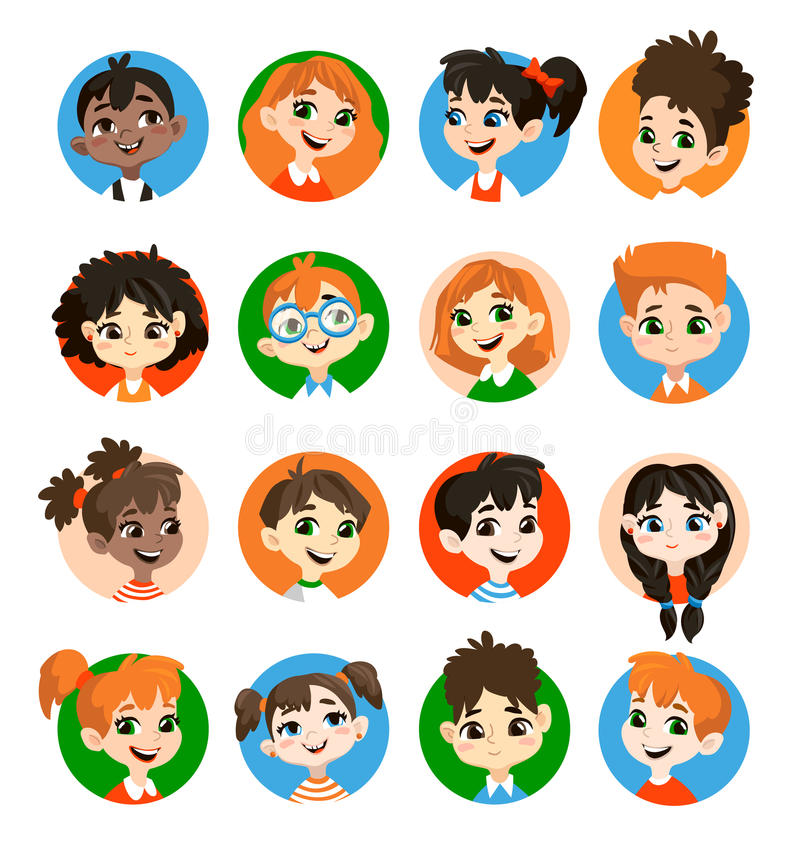 Kids avatar collection. vector illustration