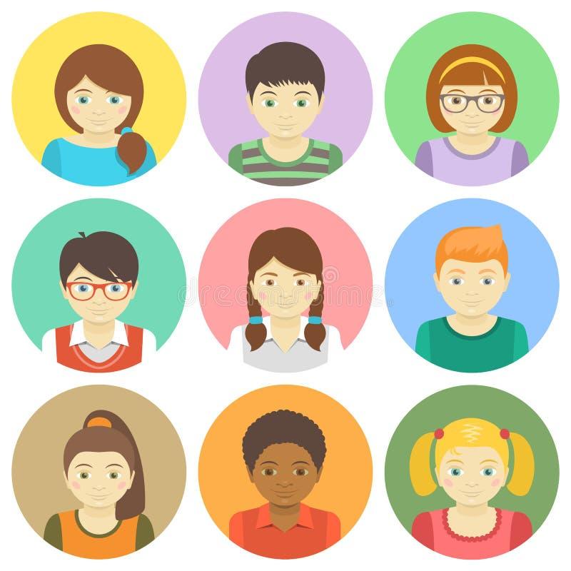 Kids Avatars. Set of round flat avatars of different boys and girls stock illustration