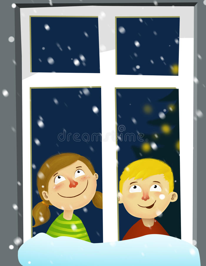 Kids awaiting chrismas. Kids sitting in a window awaiting fist star stock illustration