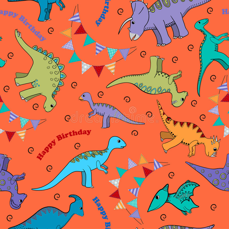 Kids background for a birthday with dinosaurs and flags. Kids siemless background for a birthday with dinosaurs, flags and inscriptions Happy Birthday vector illustration