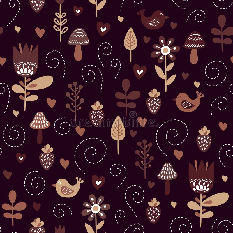 Kids background with cute birds and plants in colors of brown, beige, black and white stock illustration