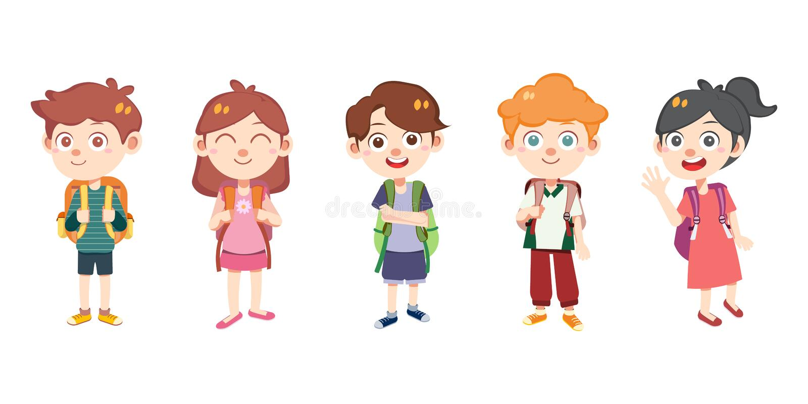 Kids backpack go to school vector isolated stock image