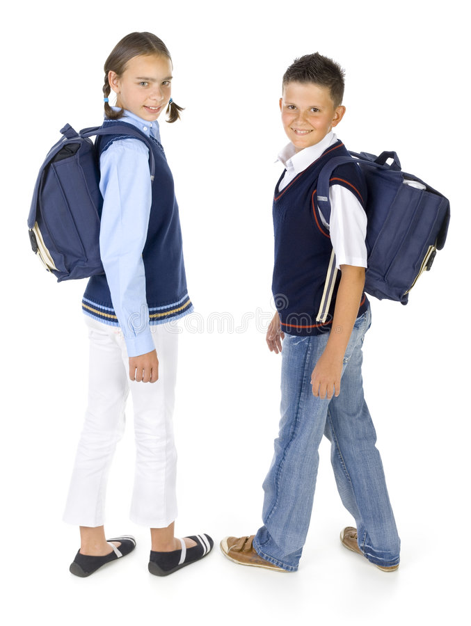 Kids with backpacks royalty free stock images