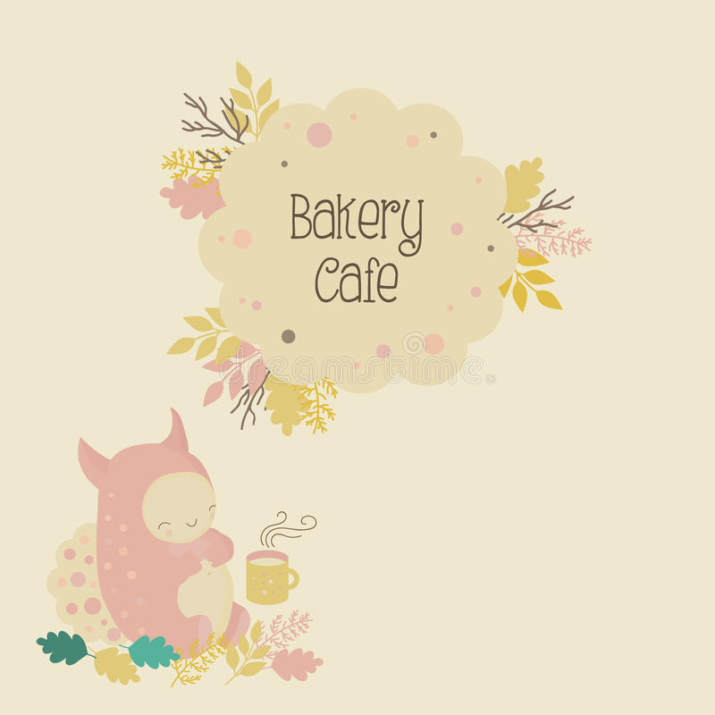 Download Kids Bakery Cafe Logo And Cute Monster Stock Vector