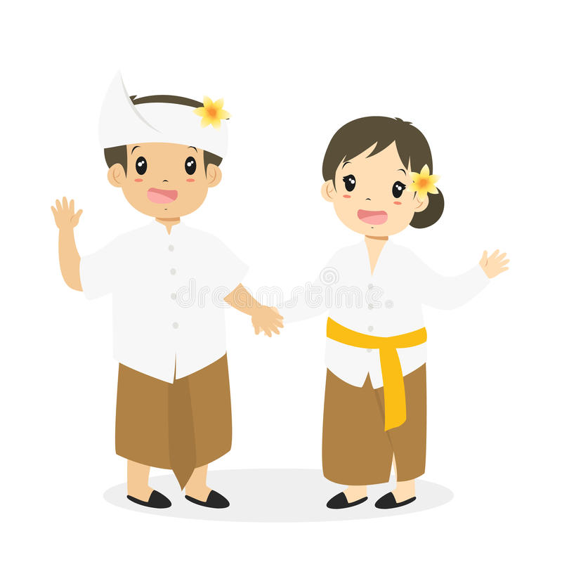 Download Kids In Bali Traditional Dress Cartoon