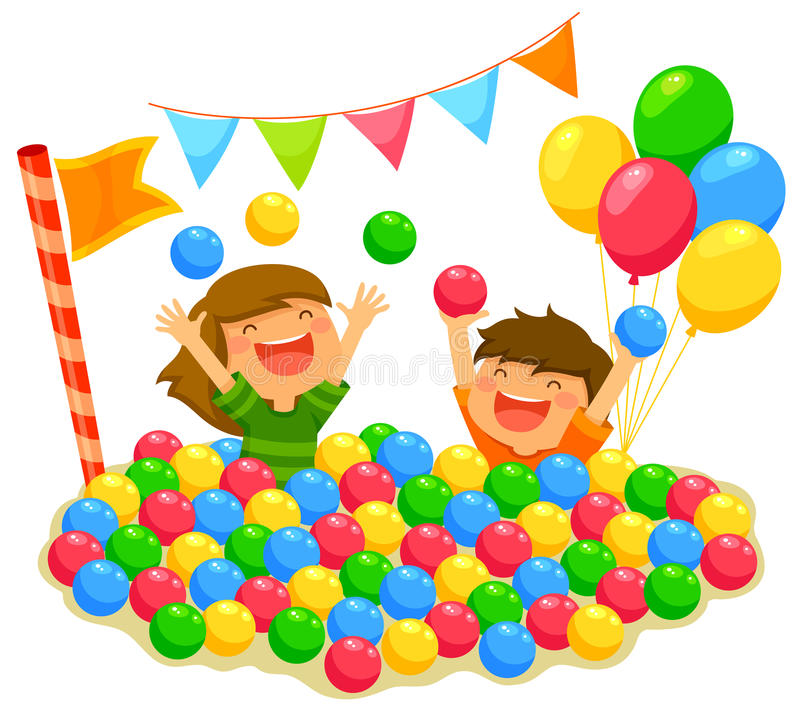 Kids in a ball pit royalty free illustration