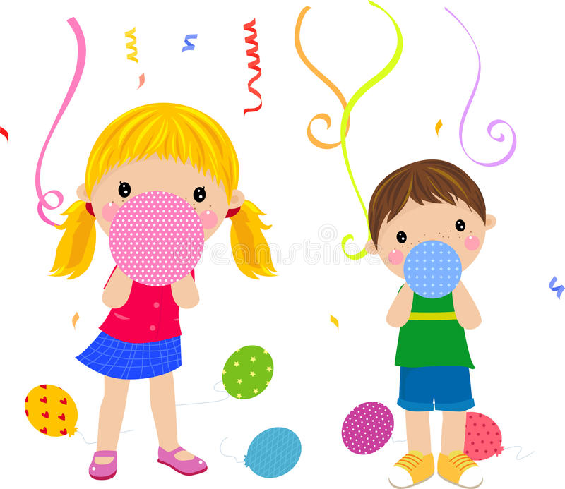 Download Kids and balloon stock vector. Image of balloon, birthday - 18538664