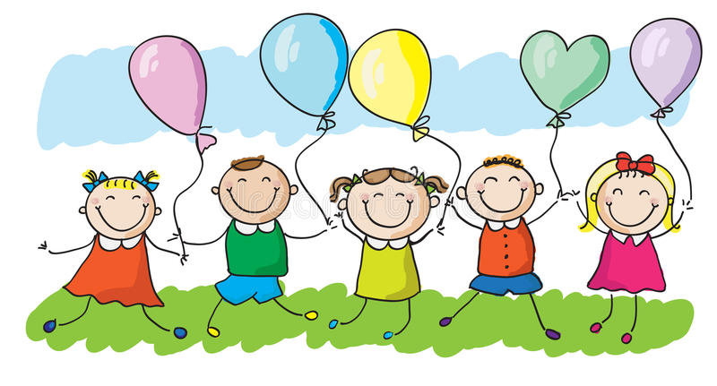 Kids with balloons. Happy kids running with colorful balloons. EPS8 without transparent and gradients, easy to edit