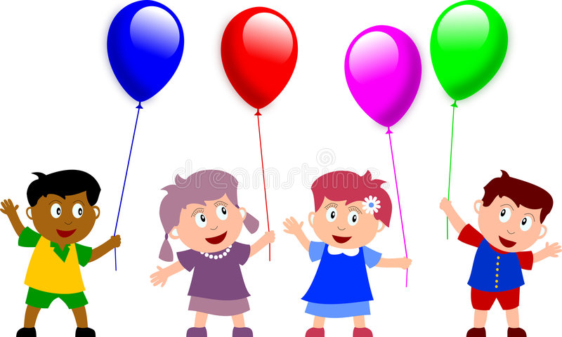 Kids and Balloons. Group of four happy multiculture kids holding balloons. You can find many other illustrations of kids in my portfolio