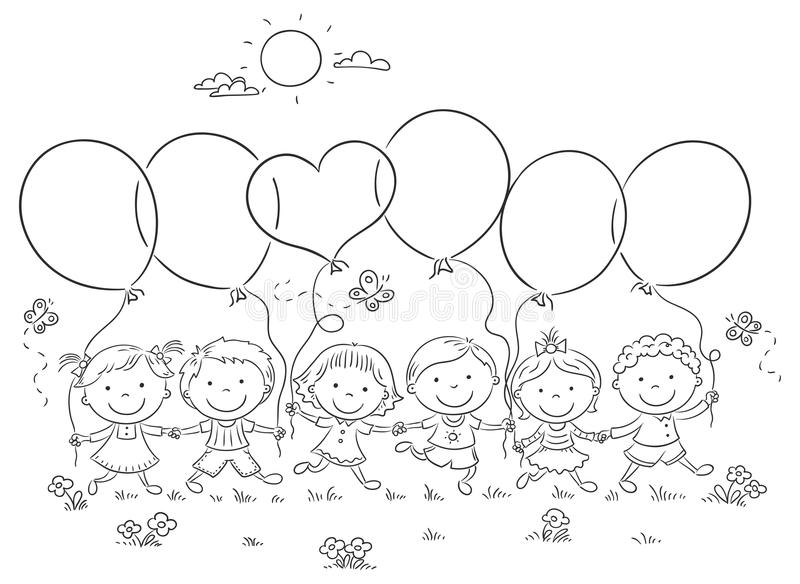 Kids with Balloons Outline vector illustration