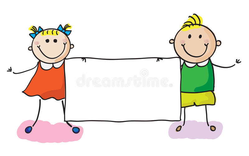 Kids with banner royalty free illustration
