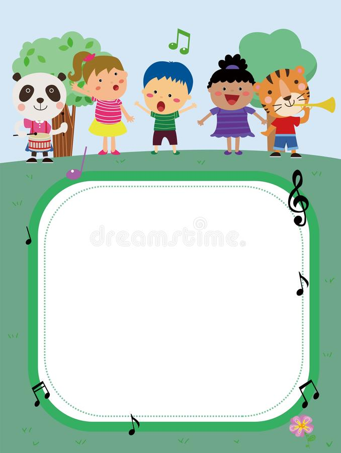 Kids and banner vector illustration