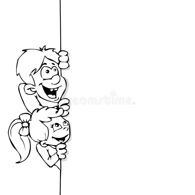 Kids and banner line art
