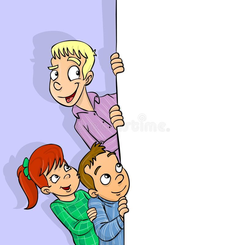 Kids and banner. Teenager and kids behind a banner illustration stock illustration