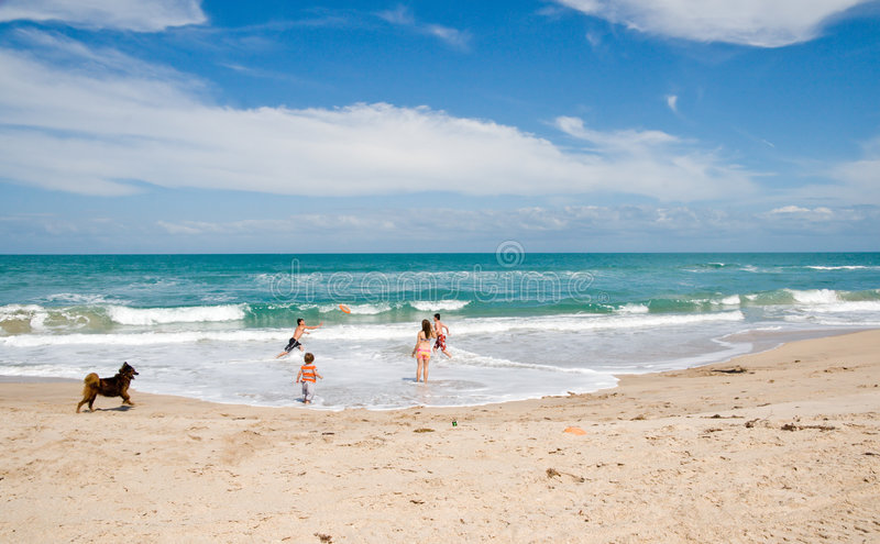 Kids at Beach royalty free stock photography