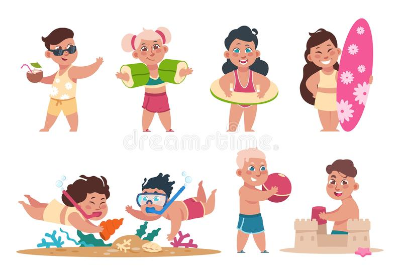 Kids at beach. Cartoon happy children swimming playing ball and doing summer activities on holidays. Vector flat child. Fun holiday party set stock illustration