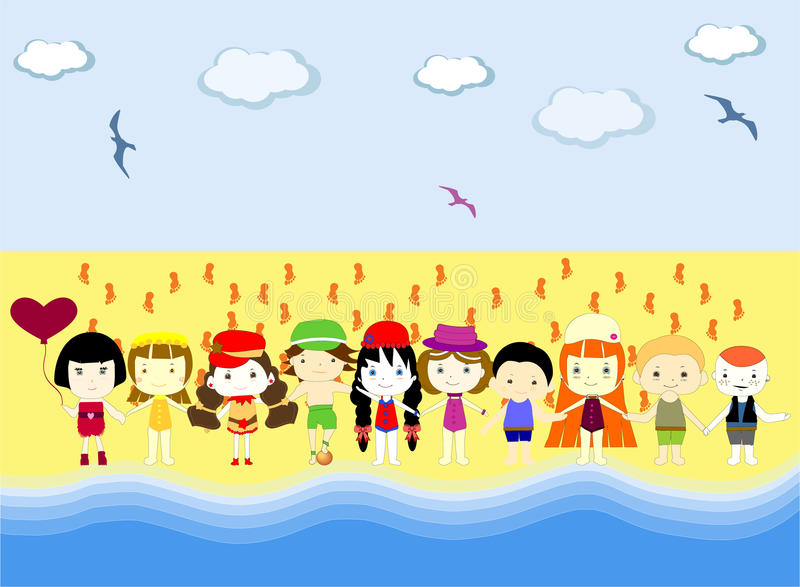 Kids on beach vector illustration