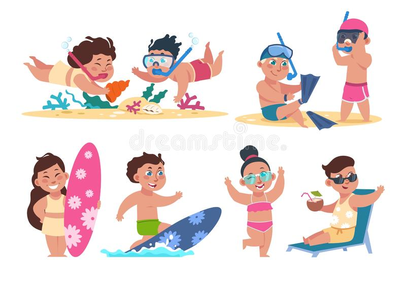 Kids at beach. Flat children character on summer holidays performing beach activities, swimming playing ball sunbathing. Vector isolated set happy girls and stock illustration