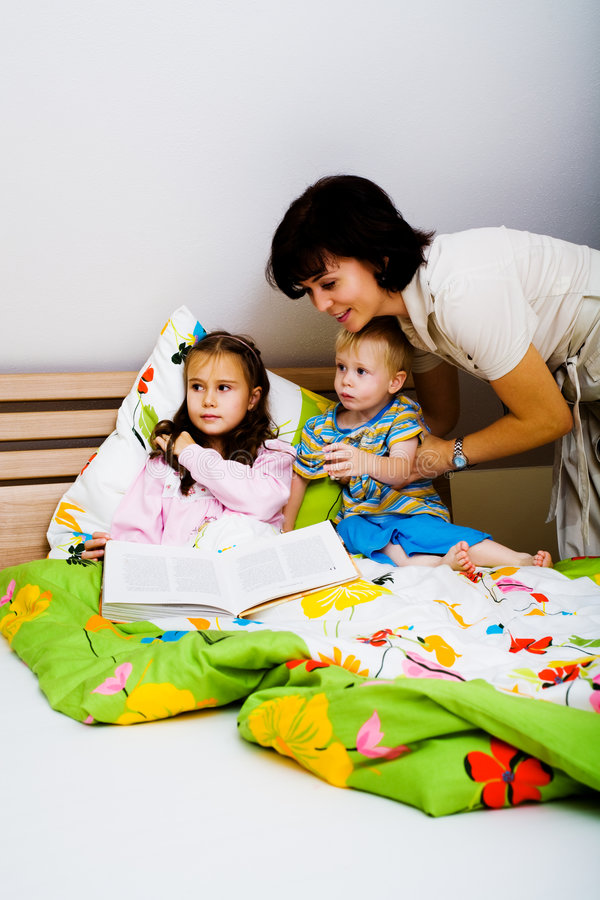Kids in bedroom royalty free stock photo