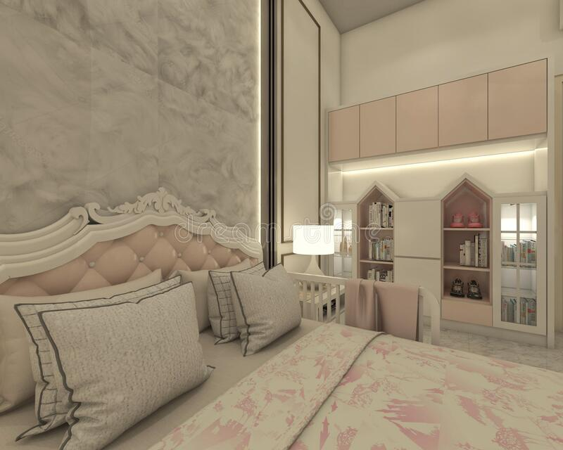 Kids Bedroom Design With Display Cabinet In Shabby Chic Style Stock Photo Image Of Home Property 212749496