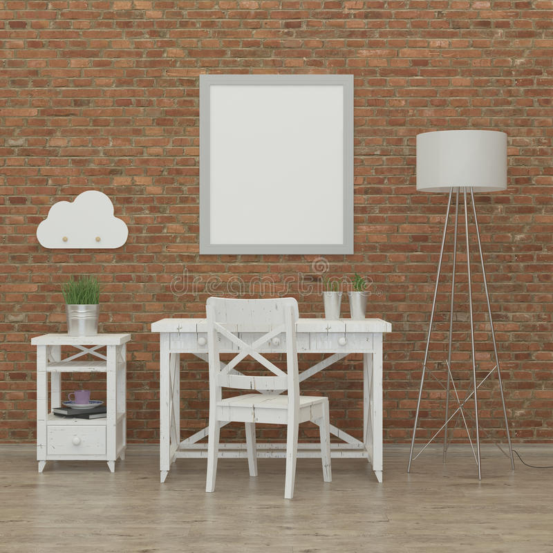 Kids bedroom interior 3d rendering image. With brick wall, white furniture and a fox vector illustration