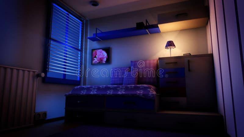 Kids Bedroom At Night Stock Illustration Illustration Of