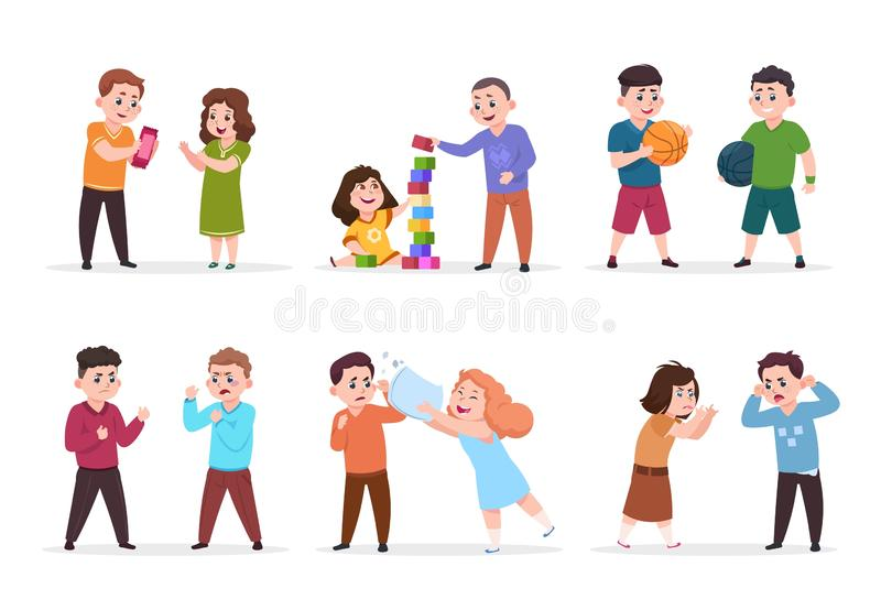 Kids behavior. Bad boys and girls confronting and bullying smaller children. Good friendly kids play together vector stock illustration