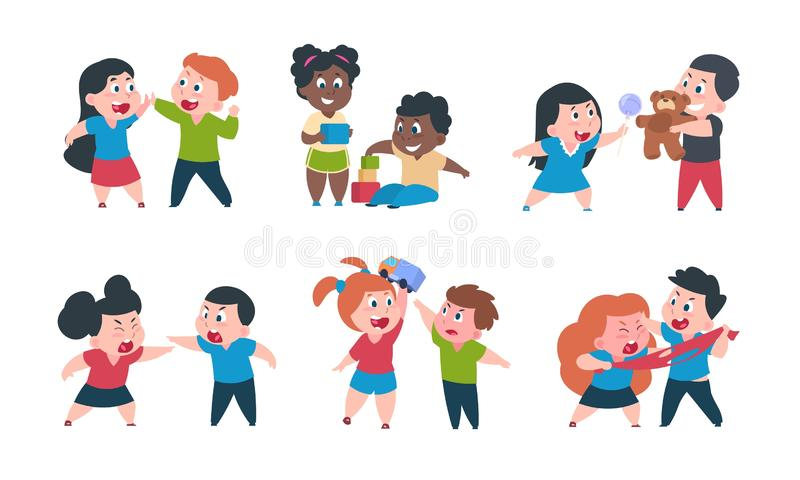 Kids behavior. Cartoon brother and sister fight cray play, cute little boy girl happy characters. Vector funny best stock illustration