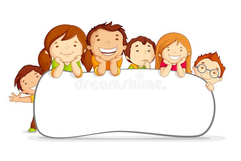 Kids behind Placard stock illustration